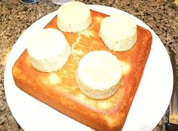 Making a Lego cake - use muffin tins for the bump out peices - Google Image Result