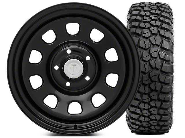 Mammoth D Window Steel 17x9 Wheel and BFG KM2 Tire 305/70 - 17 Tire Kit (07-17 Wrangler JK)