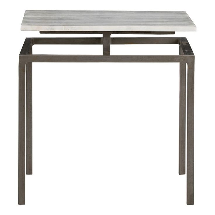 Arteriors 6163.6439 Indigo 18 Inch Wide Marble Top End Table Natural Iron Furniture Tables End Tables