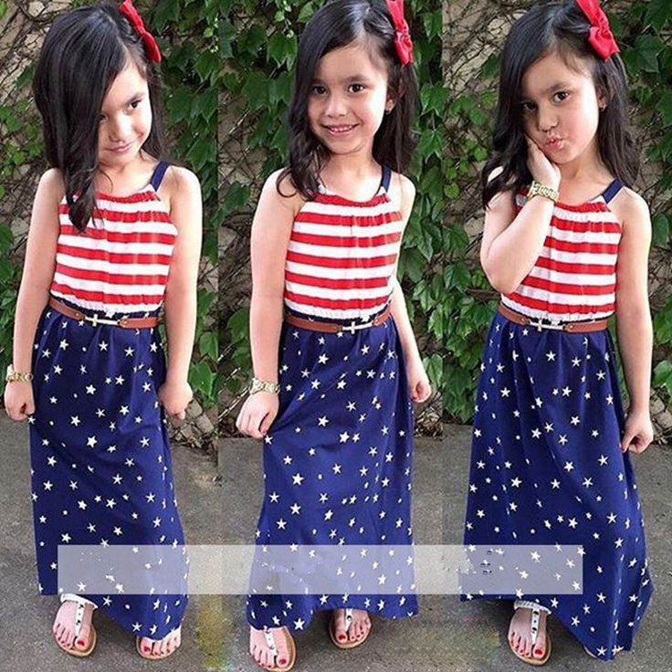 2017 Summer Fashion Baby Girls Clothes Set Sling + Dress 2pcs / Set T Shirt Suit Children Clothing Striped Suit Pentagram Stars #Affiliate