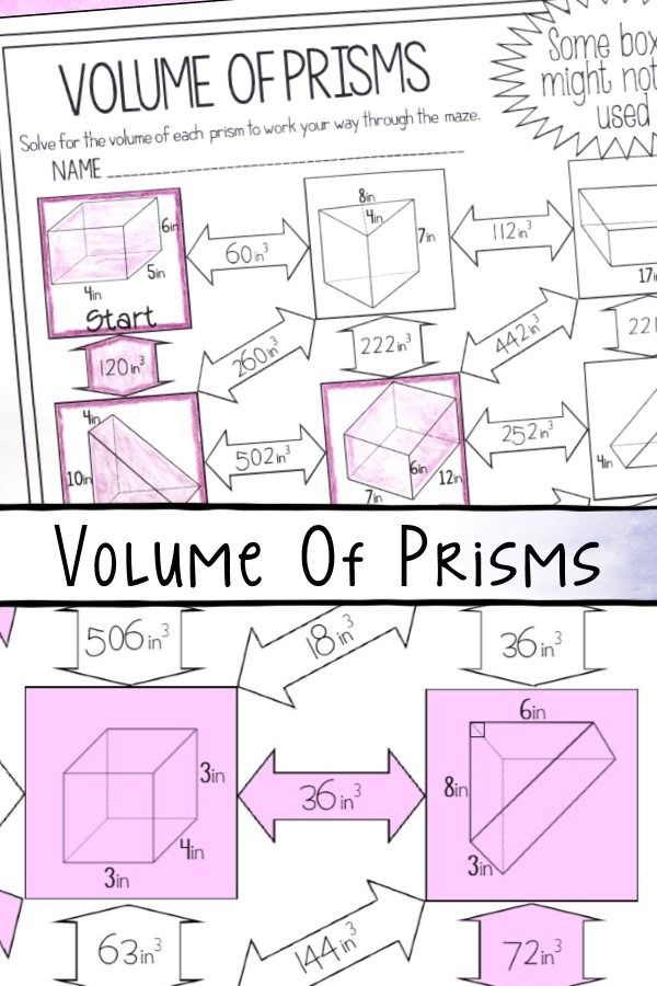 Volume Of Prisms Worksheet In 2020 With Images Math Formulas