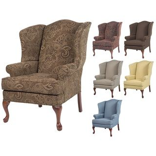 Best Elyse Wingback Paisley Print Accent Chairs Printed 400 x 300