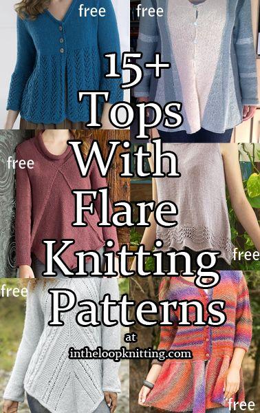 Breien patronen voor Tops met Flare.  De meeste patronen zijn gratis