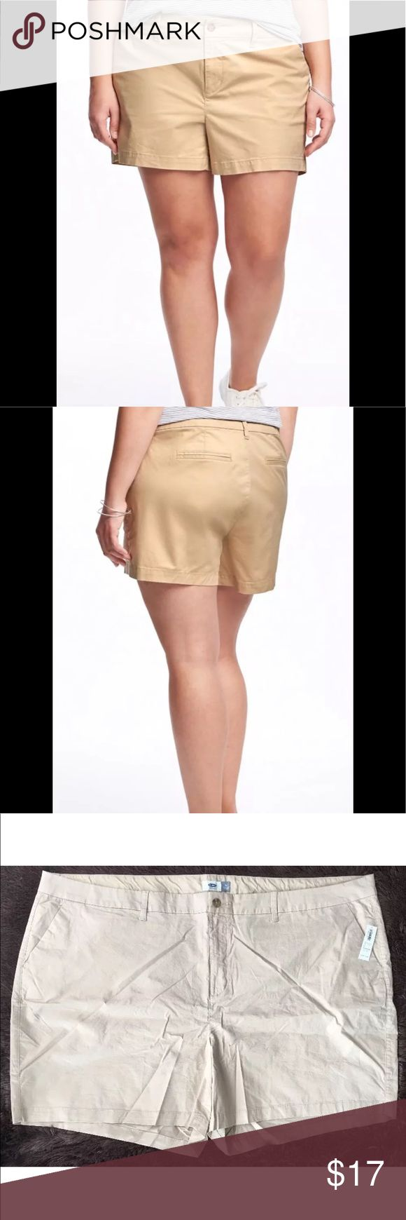 """Beige Flat Front Cotton/Spandex Shorts NWT women's Old Navy brand beige shorts-size 30  • flat front • two pocket (front) • 97% cotton; 3% spandex  • original price $32.94 • from clean and smoke-free home  FLAT MEASUREMENTS: waist 28""""; hips 32""""; front rise 14.5""""; inseam 6""""; leg opening at hem 18.5"""" Old Navy Shorts"""