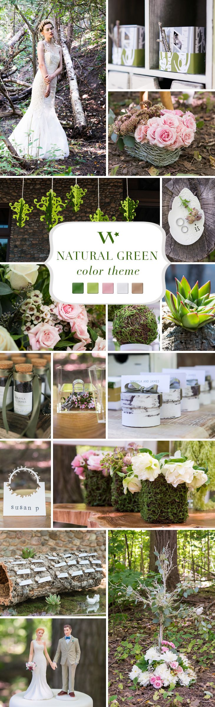 Find your color inspiration here for a natural green wedding. Combine soft pinks with natural woodland colors to get this incredible look.