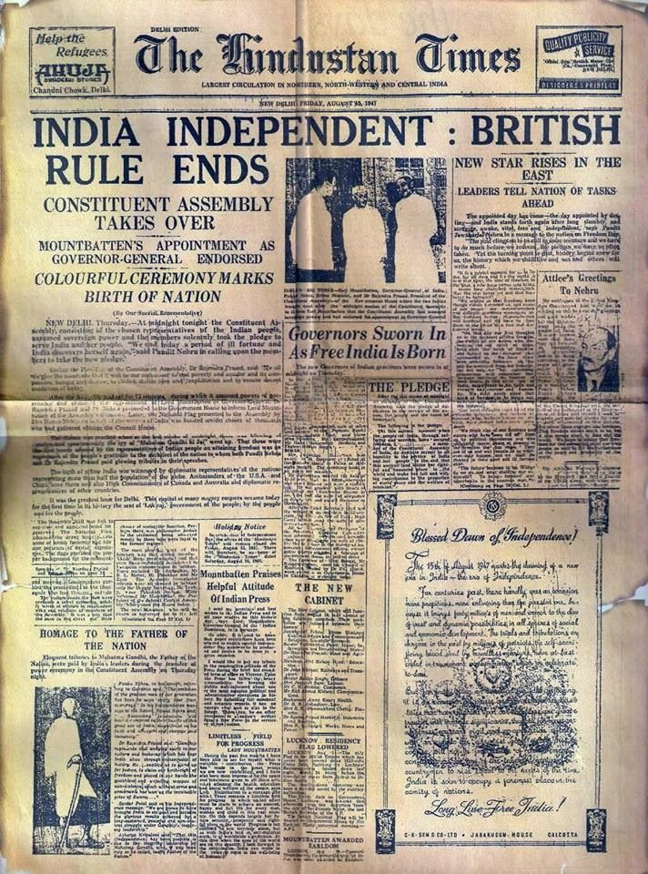 Indian newspaper , 15 August 1947