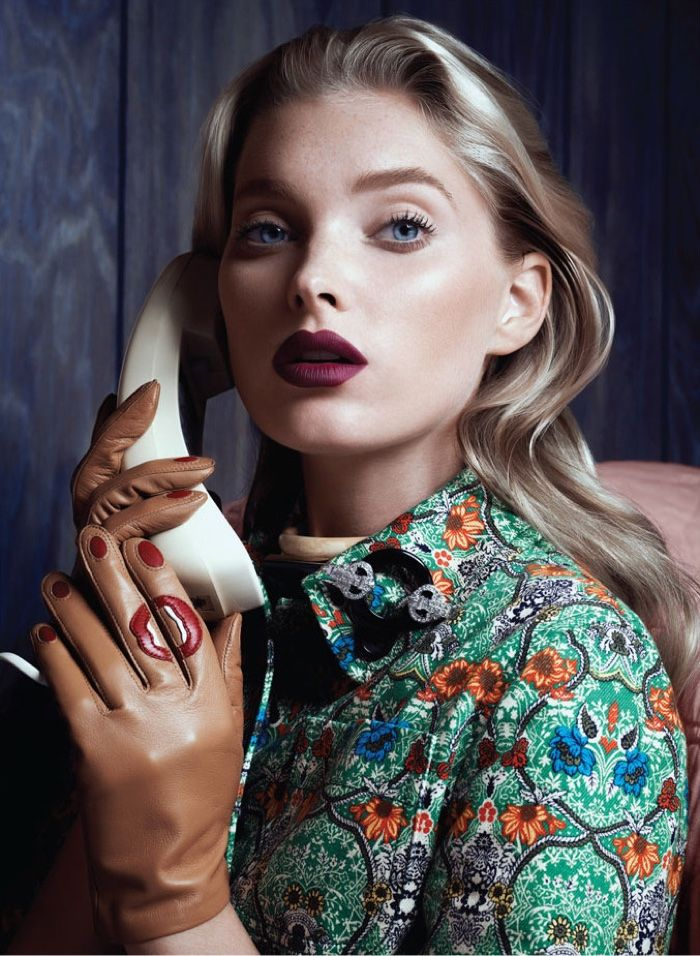 Model Elsa Hosk channels Alfred Hitchcock heroines in the beauty for Vogue Magazine Mexico December 2016 issue