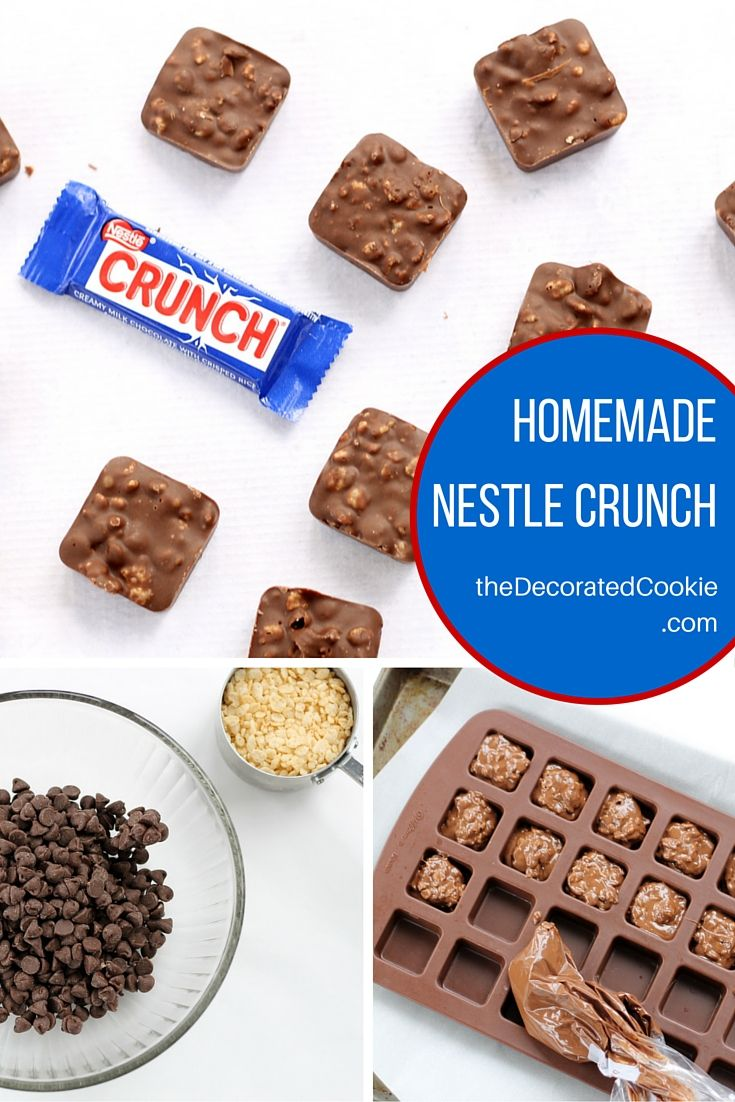 homemade nestle crunch chocolate bars with just two ingredients