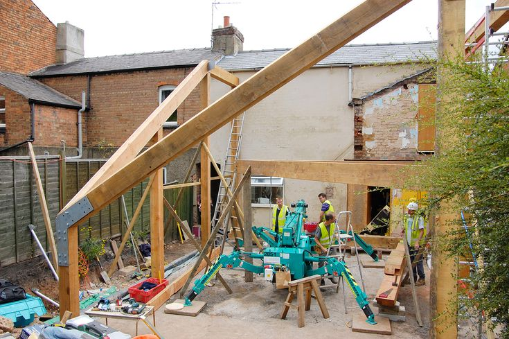 Hector and Cedric was commissioned to design, build and install a Douglas Fir Timber frame for a passive house self build in Derby. The frame was raised in quite a restricted area, with the use of a spider crane that only just fitted through the narrow passageway. We went on to construct the floors and roof structure, leaving the building to be completed with straw-bale infill walls and a living green roof.
