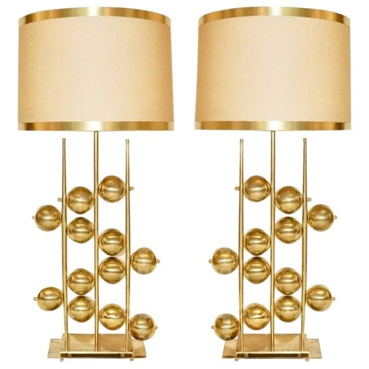 Italian Contemporary Fine Design Pair of Organic Gold Brass Lamps with Spheres | From a unique collection of antique and modern table lamps at https://www.1stdibs.com/furniture/lighting/table-lamps/