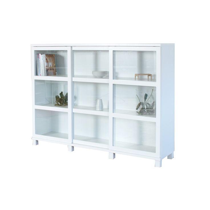 Case vitrinskåp - glasdörrar, hög, vit