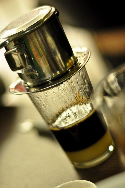 Vietnamese Coffee. How to make it- http://www.youtube.com/watch?v=10IqxId2VSQ