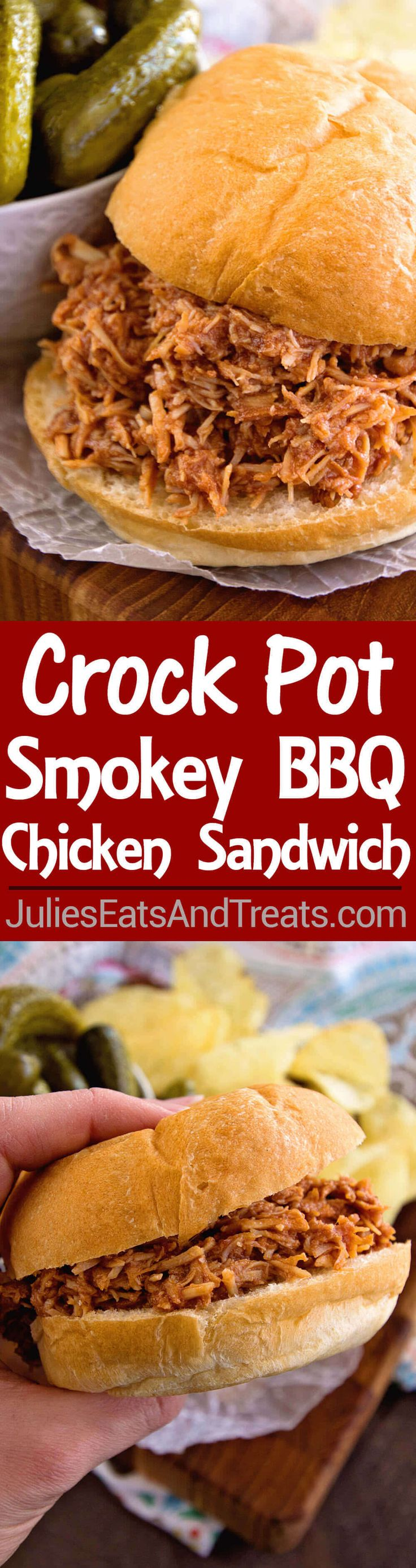 Crock Pot Smokey BBQ Shredded Chicken Sandwiches~ Easy, Shredded Chicken Sandwiches in Your Slow Cooker! Tender, Moist and Delicious Flavored with Liquid Smoke and Smothered in Barbecue Sauce! ~ http://www.julieseatsandtreats.com