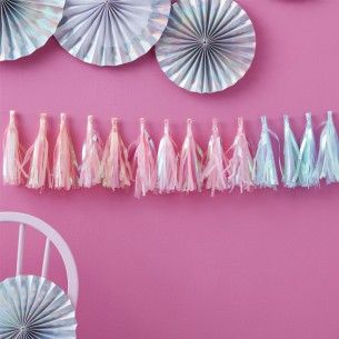 Iridescent Paper Party Tassel Garland - New In - Party Supplies