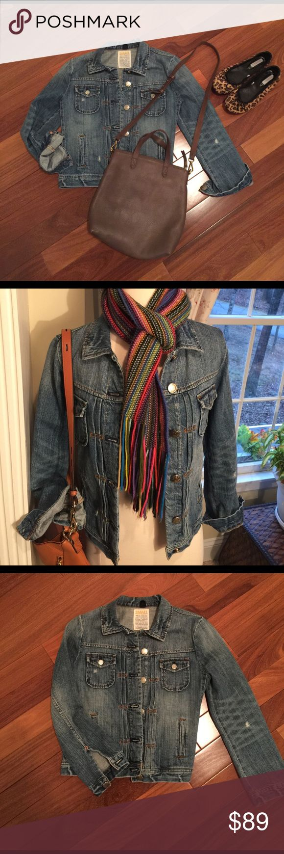 J.Crew Denim Jacket.  NWOT. Size Small. Adorable J.Crew slightly distressed jean jacket.  Never Been Worn.  Super Soft.  Purchased at J.Crew. J. Crew Jackets & Coats Jean Jackets