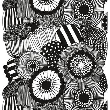 Marimekko's Siirtolapuutarha fabric, black - white