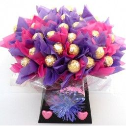 Stunning Ferrero Rocher Chocolate Bouquet Purple and Pink