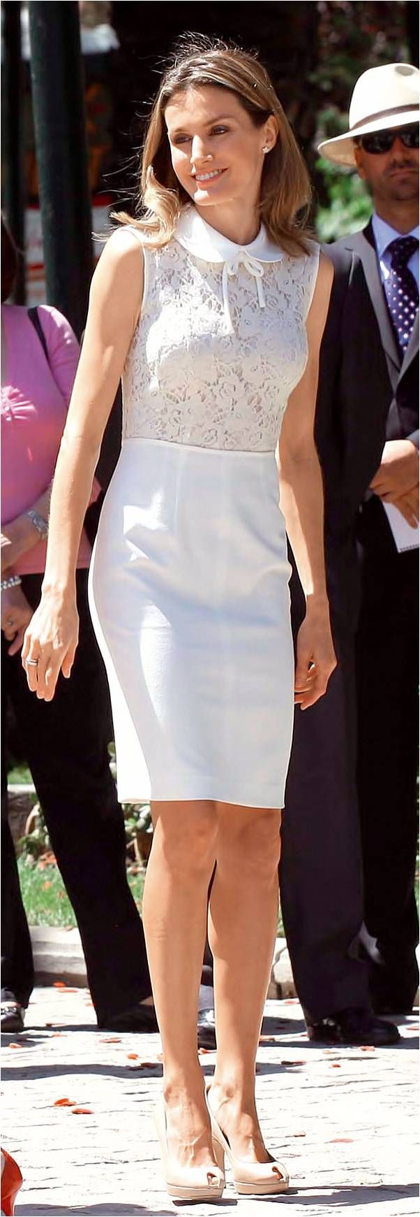 Queen Letizia - white Peter Pan collar dress