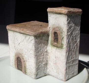 casita para belen - maison toute simple : boites, colle tapissr, cordon, mouchoirs