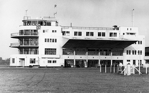 Birmingham Elmdon Airport June 1954 Thirties styled Control Tower and Terminal.