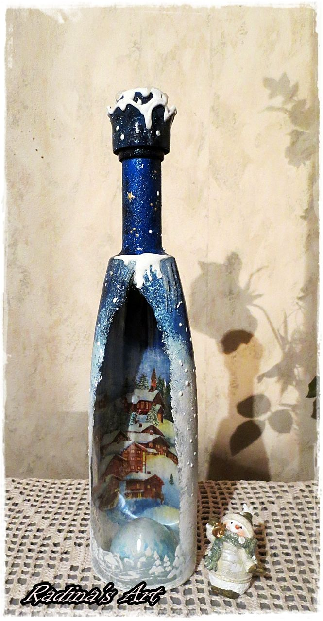 Decorated bottle for Christmas