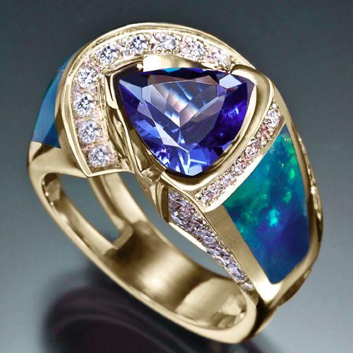 RANDY POLK DESIGNS: Ethiopian opal, tanzanite trillion, diamonds