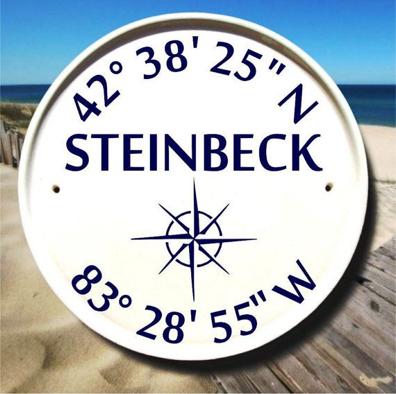 Nautical Compass Family Name House Plaque / Boat House Sign / Latitude Longitude Sign / Sail Boat Decor / Nautical Sign / Customizable Gifts