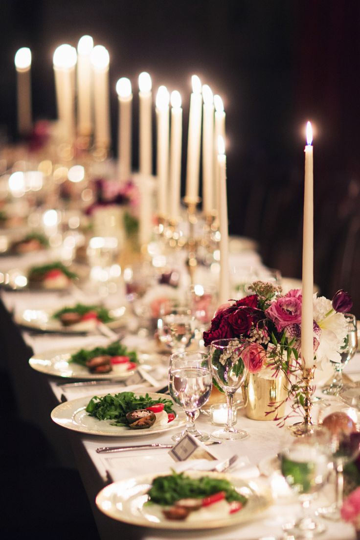 Candlelit dinner tables // Lauren & Jon's wedding at Alder Manor in Yonkers, NY // Photo: Jonathan Young