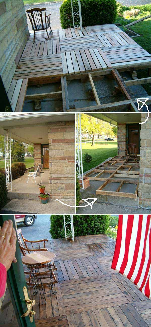 #7. DIY Pallet Porch Makeover | Top 19 Simple and Low-budget Ideas For Building a Floating Deck