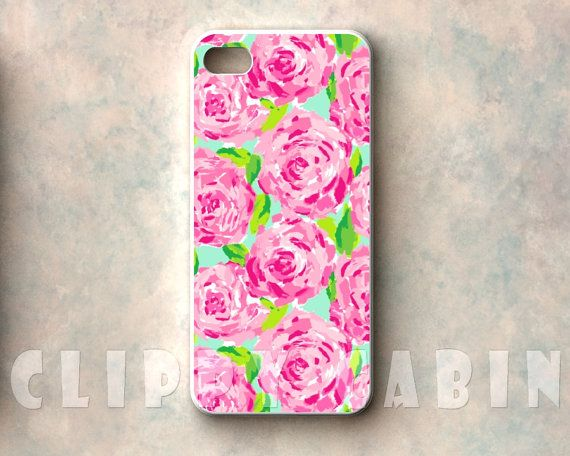 Handmade Sublimation Case, Apple iPhone 5, 4, 4s, with Rubber Sides : Lilly Pulitzer Pattern, First Impression, Floral Pink Flowers Roses on Etsy, $14.99