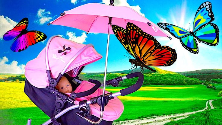 Baby Doll Stroller Pram Toy with Sun Umbrella | Playtoys