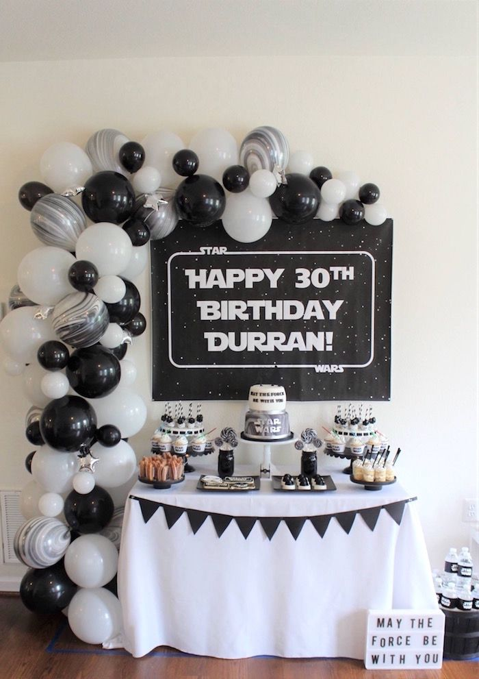 Monochromatic Star Wars Birthday Party On Karas Ideas