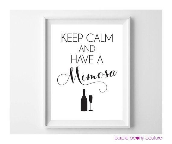 Mimosa Bar Sign Bridal Shower Decoration Brunch Keep Calm ...