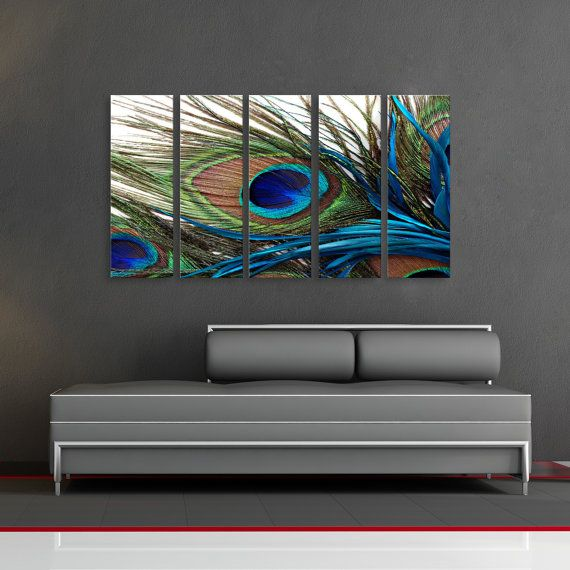 Peacock Feather Oriental Huge Wall Art Decor by CanvasCEO on Etsy, $143.00                                                                                                                                                     More