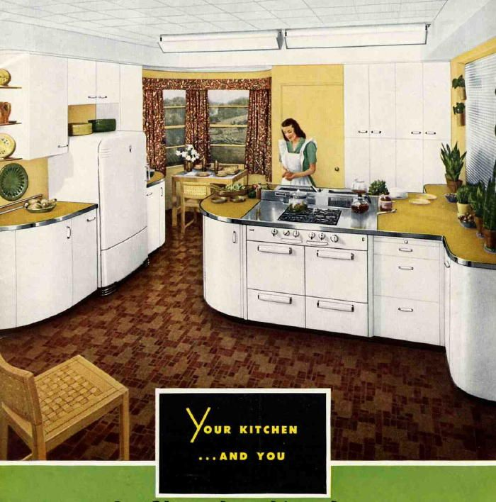 1940s kitchen illustrations, ads and photos to use for inspiration and ideas for decorating a 1940s kitchen.