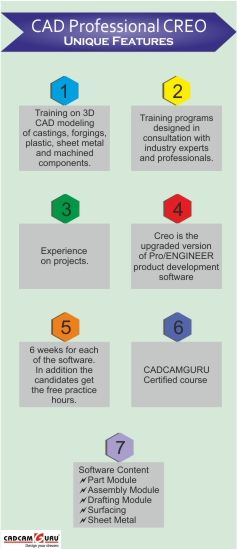 Features of CAD Professional CREO course at CADCAMGURU Call 9168603427/28