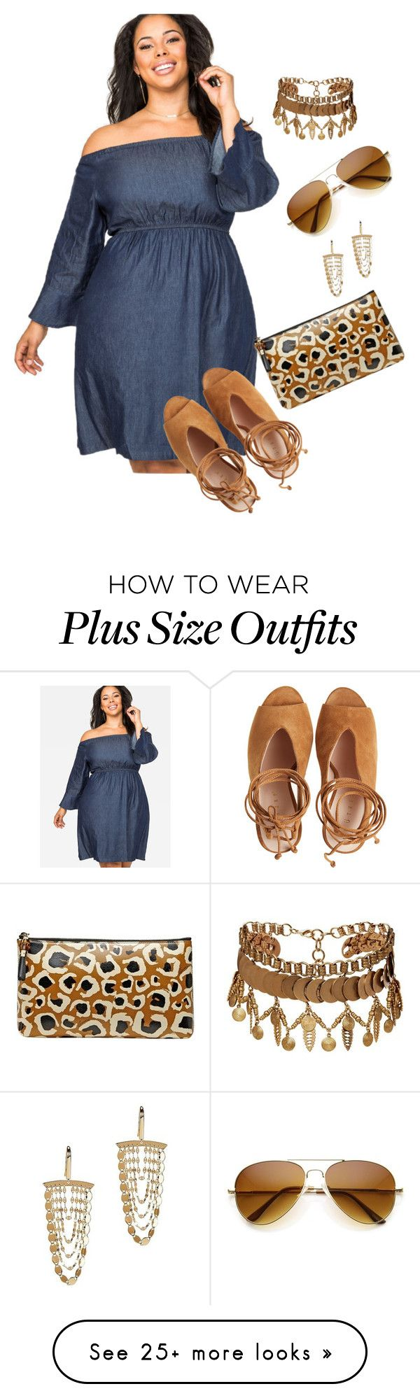 """My plus size denim style/2 simple chic"" by xtrak on Polyvore featuring Ashley Stewart, Elizabeth Cole, Gucci and Lana Jewelry"