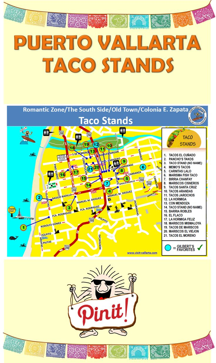 Map of Taco Stands in Puerto Vallarta.  #Taco #PuertoVallarta #MexicanFood  For more information visit us at: www.visit-vallarta.com