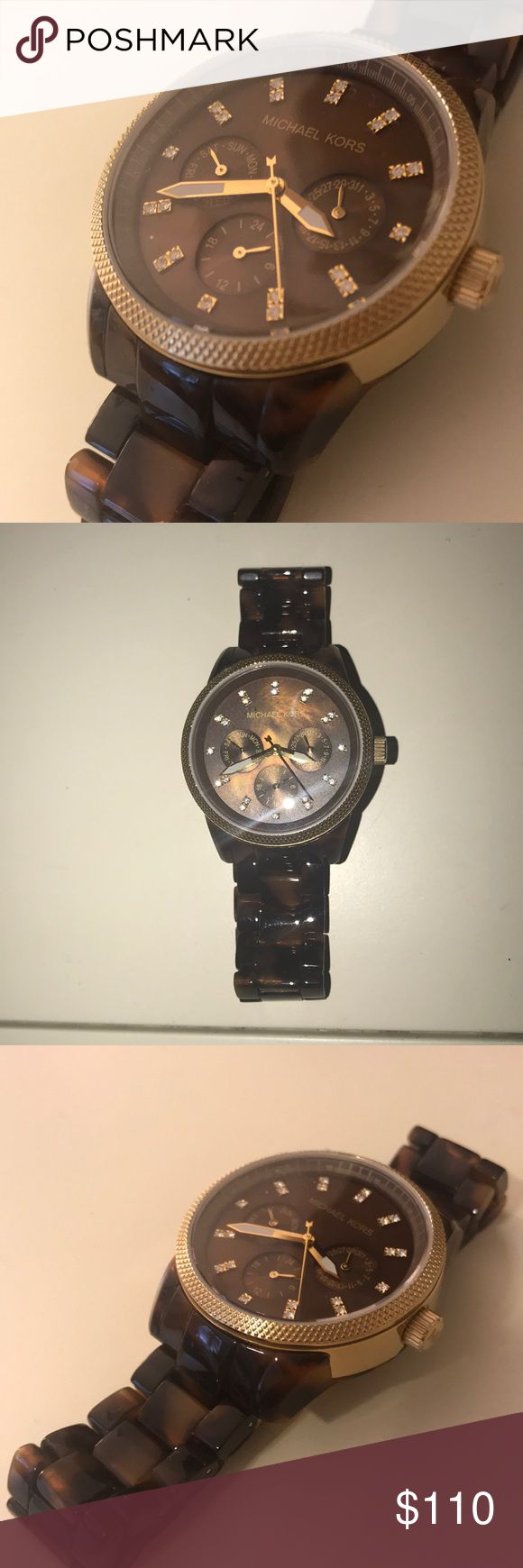 NEW Michael Kors Watch Tortoise shell watch with gold detail. Never worn. Beautiful details. Brand new. Michael Kors Accessories Watches