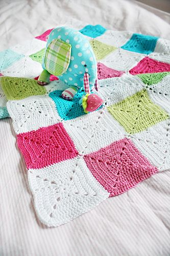 crocheted baby blanket What lovely colours! I just cant get enough!!!