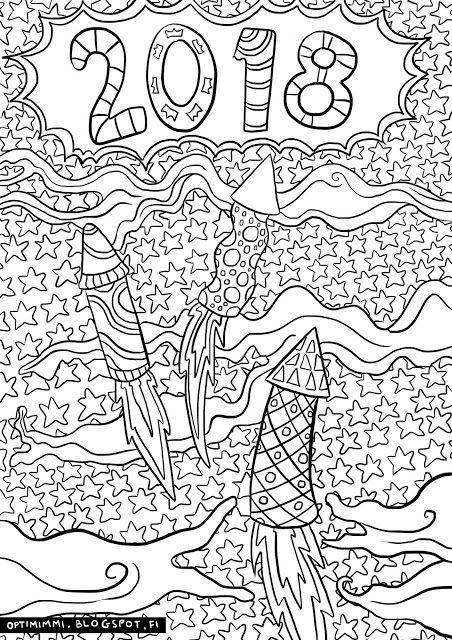 OPTIMIMMI | A free printable coloring page of New Year 2018 / Ilmainen tulostettava värityskuva uudestavuodesta 2018