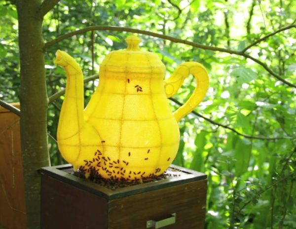60,000 Bees Made This Teapot-Shaped Sculpture