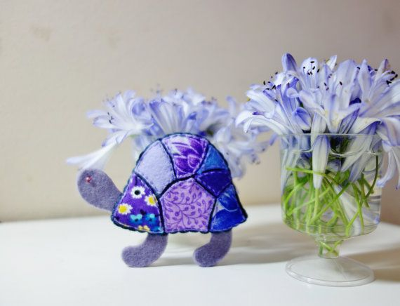 Purple Turtle Brooch. Mosaic Animal Brooch. Felt Fabric Turtle. Magenta Tortoise.