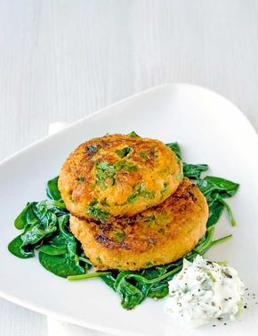 Our best spicy fish cake recipe: perfect if you've got some tinned salmon in the back of the cupboard. It's healthy too, using sweet potato, natural yogurt and spinach.