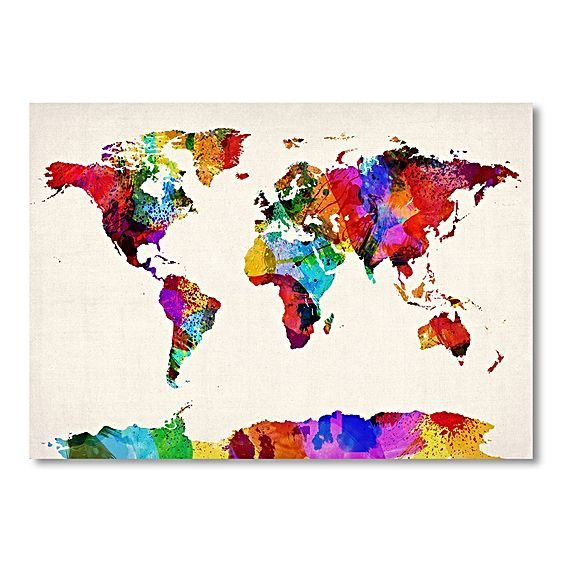 World Map Multicoloured Print Art by Americanflat
