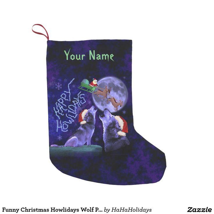 Funny Christmas Howlidays Wolf Pun Custom Name Small Christmas Stocking