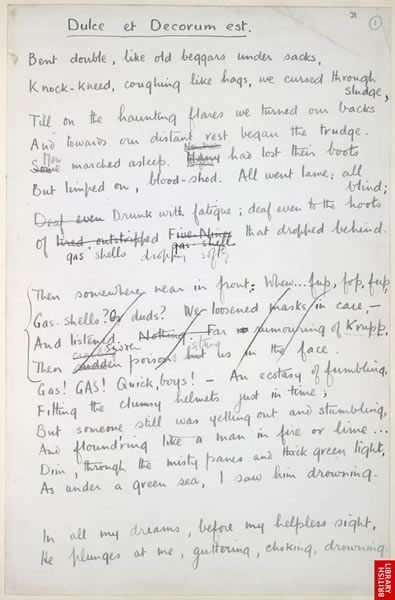 a comparison of wilfred owens poems dulce et decorum est and anthem for doomed youth Wilfred owen wrote both the poems 'dulce et decorum est' and 'anthem for  doomed youth' during the first world war wilfred owen was a british poet born  in.