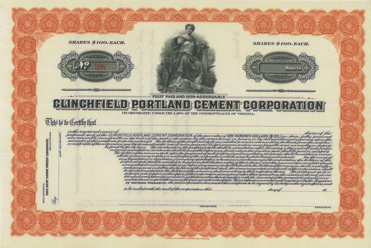 Clinchfield Portland Cement Corporation - #scripomarket #scriposigns #scripofilia #scripophily #finanza #finance #collezionismo #collectibles #arte #art #scripoart #scripoarte #borsa #stock #azioni #bonds #obbligazioni