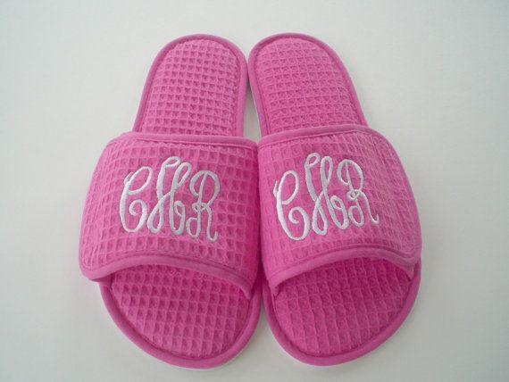 Spa Slippers Bride Maid of Honor and Bridesmaids Monogram Spa Slippers Under 20 Dollars on Etsy, $22.00
