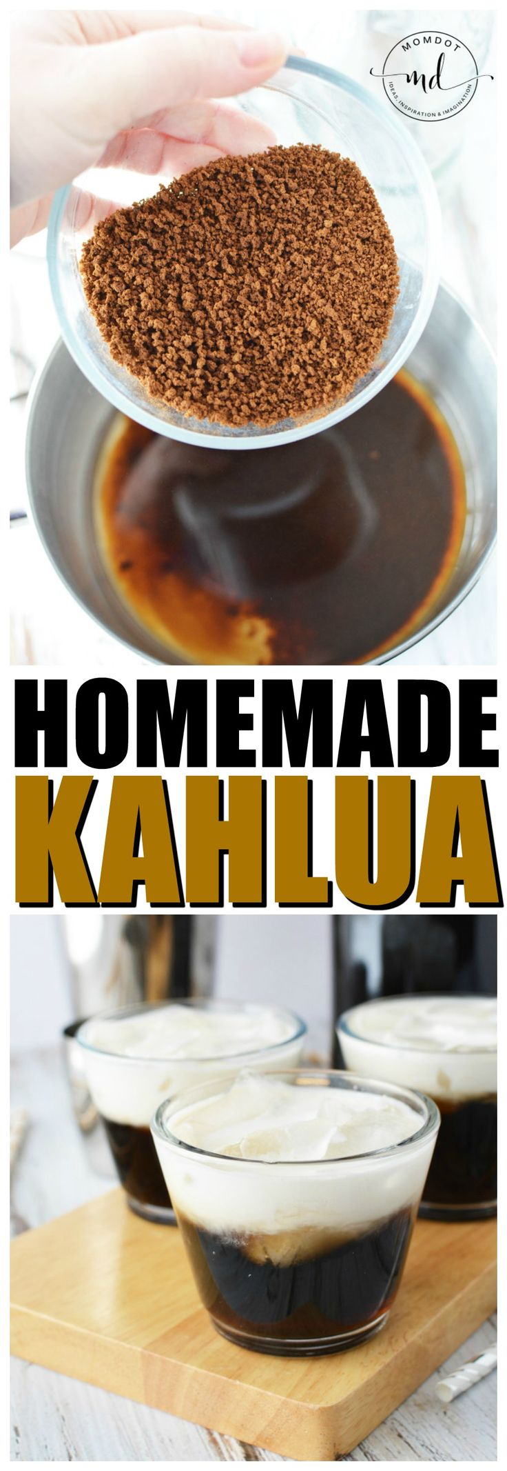 With this Homemade Kahlua recipe, you can learn how to make your Own Coffee Liqueur with Vanilla Beans, fresh brewed coffee and vodka. Once you see how easy is to learn how to make Kahlua, you will never buy it again! #kahlua #alcohol #recipe #diy #liquor